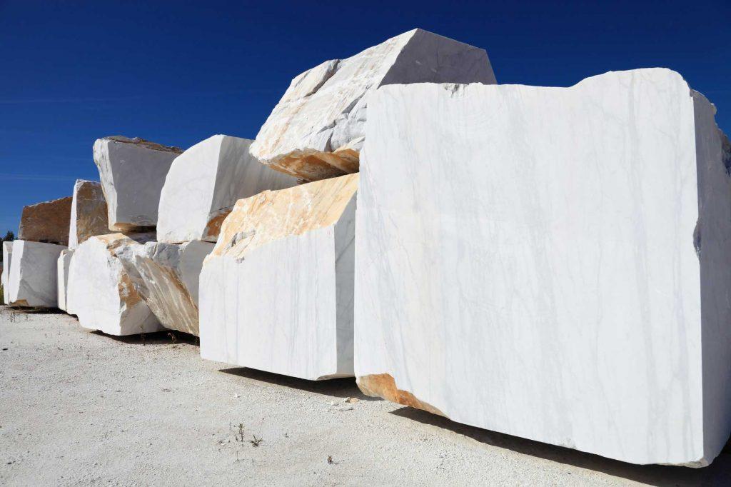 Block yard of Carrara marble