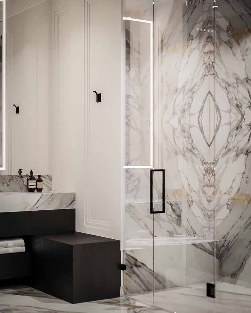 Calacatta Borghini marble  bathroom 4 ways bookmatch