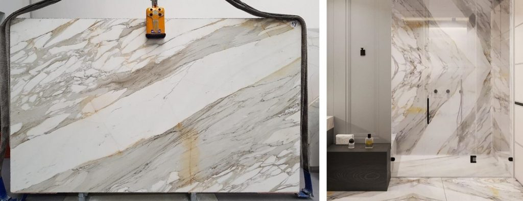 Bathroom in Calacatta borghini marble
