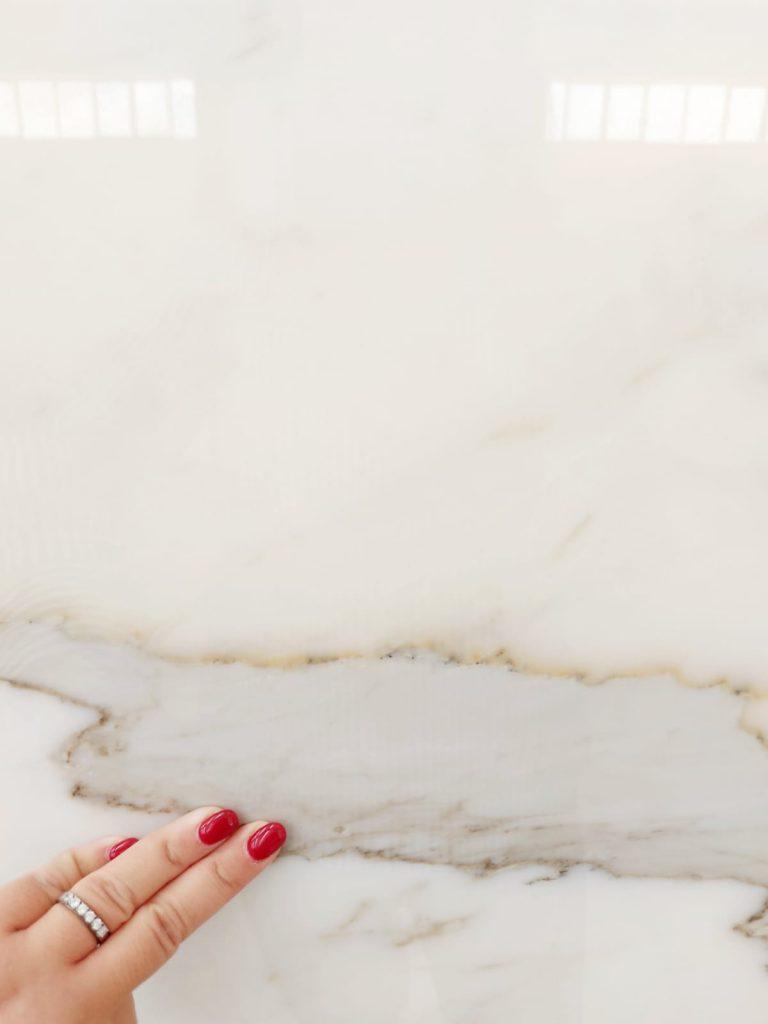 Calacatta borghini marble slab close up