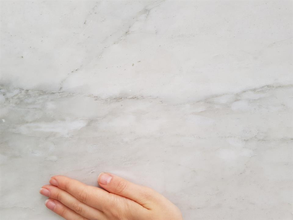 Calacatta MIchelangelo marble slab close up