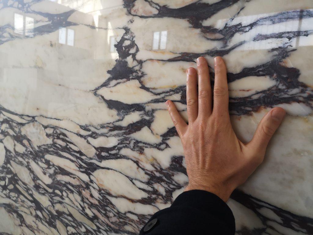 Calacatta viola marble slab close up