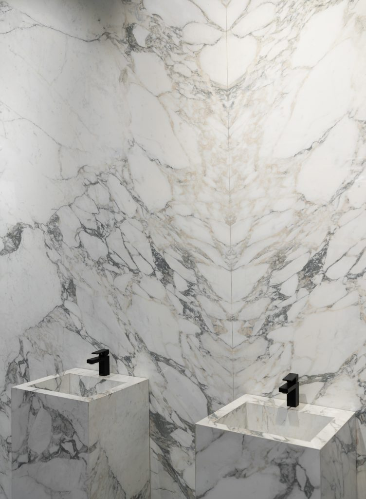 Arabescato Marble Bathroom with bookmatch wall