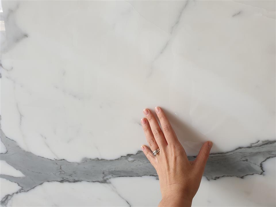 Bianco Statuario marble slab close up