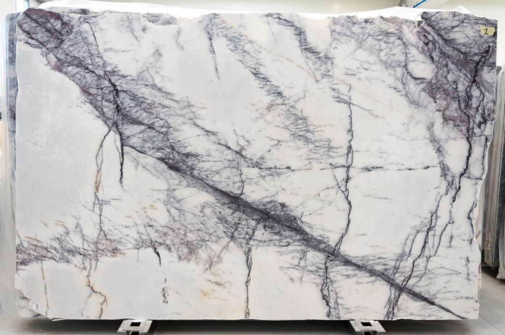 Lilac white marble slabs polished or honed