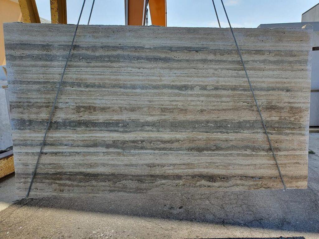 silver travertine slabs